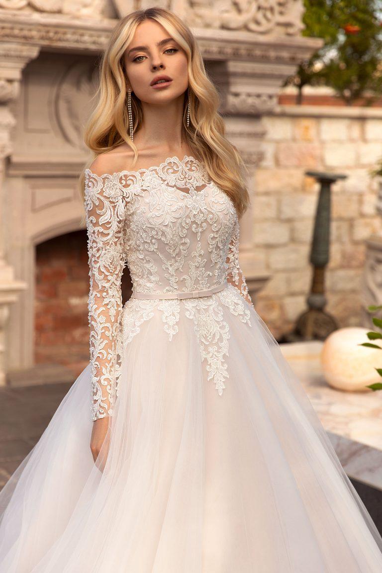 long sleeve A-line lace wedding dress