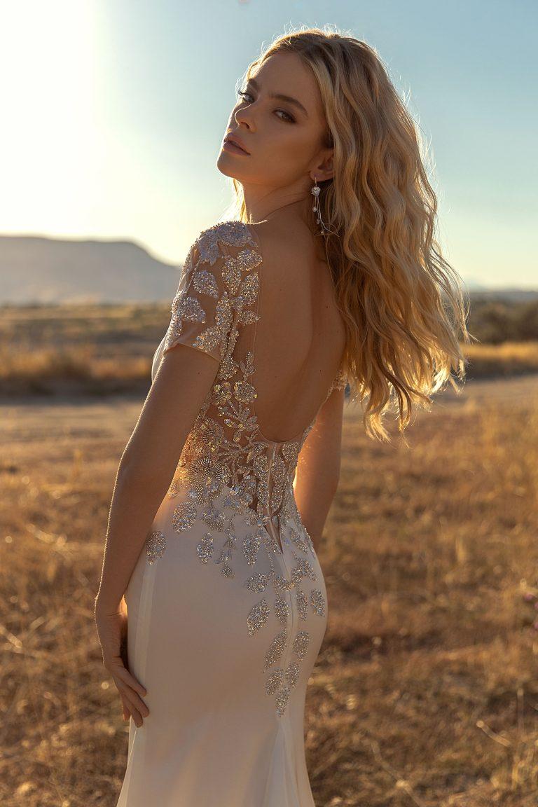 plain backless wedding dress