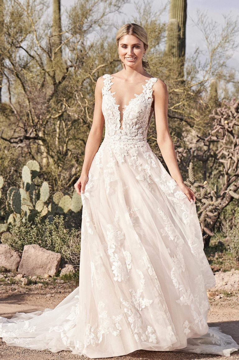 Low Scooped Back Lace A-Line Wedding Dress