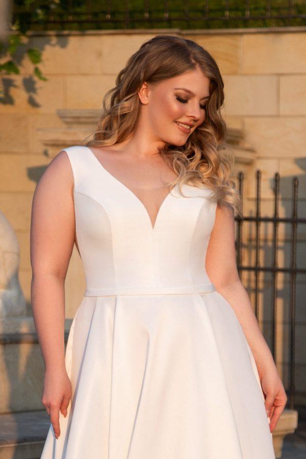plain satin a-line wedding dress