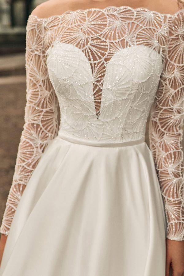 low V a line wedding dress