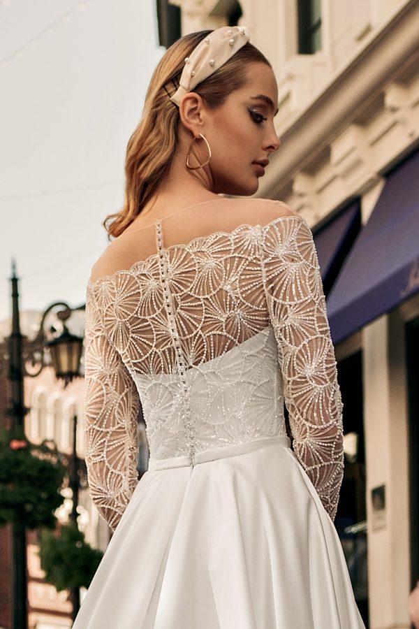 long sleeved modern wedding dress
