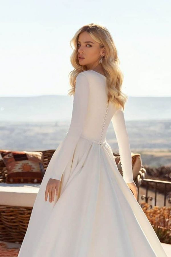 high back wedding dress with sleeves
