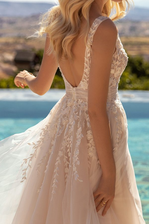 flowered wedding dress