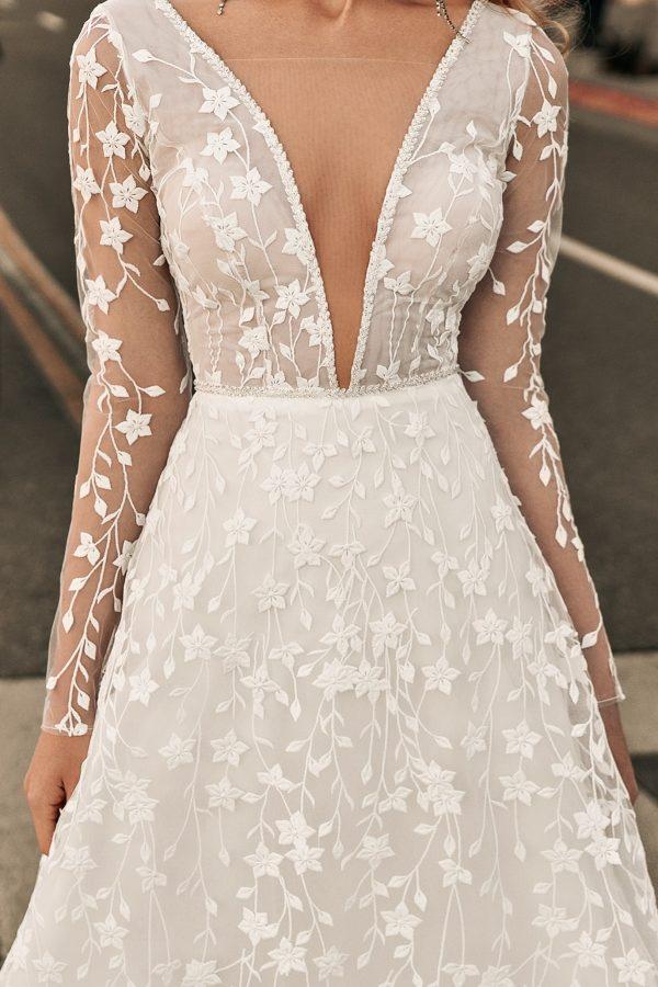 low V wedding dress
