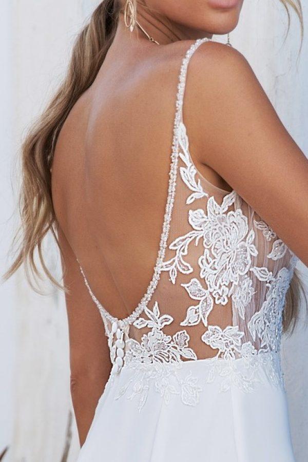 delicate strap wedding dress