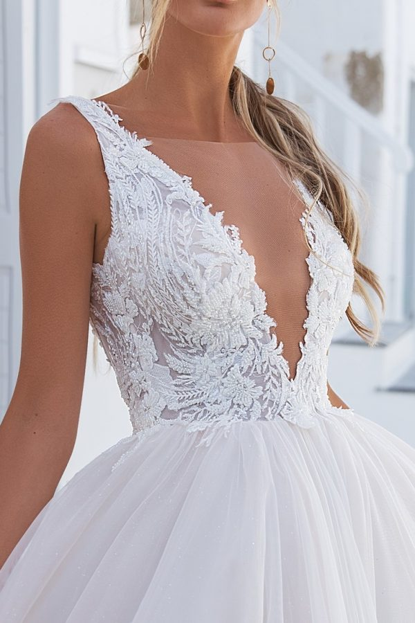 low v lace ball gown