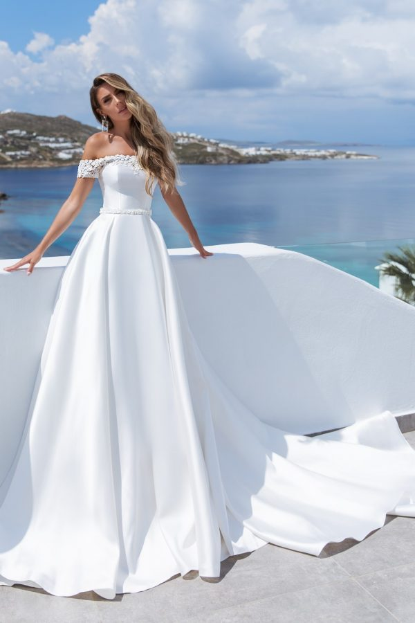plain off the shoulder a-line wedding dress
