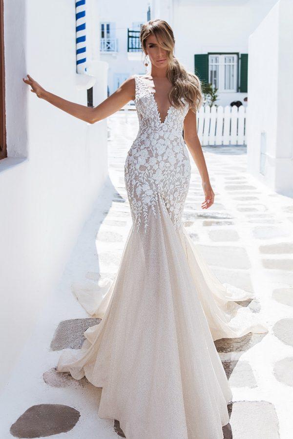 Modern Shimmer Wedding Dress