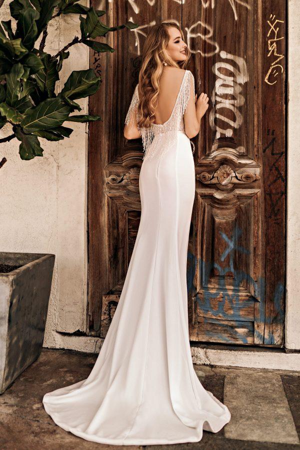 low backed wedding dress