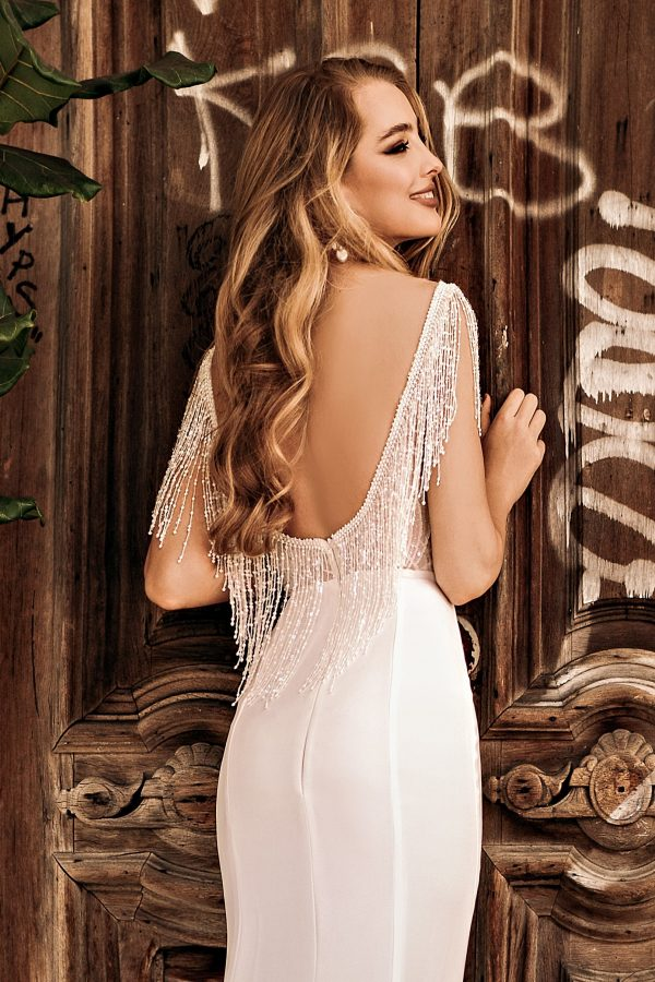 fitted wedding dress with low back